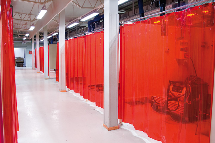 Red transparent welding curtains.